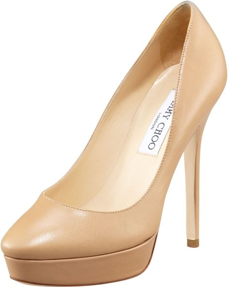 Jimmy Choo Cosmic Leather Platform Pump in Beige (nude) - Lyst