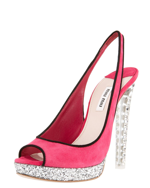 d3767e5e2932 Lyst - Miu Miu Jewel-heel Suede Platform Sandal in Pink