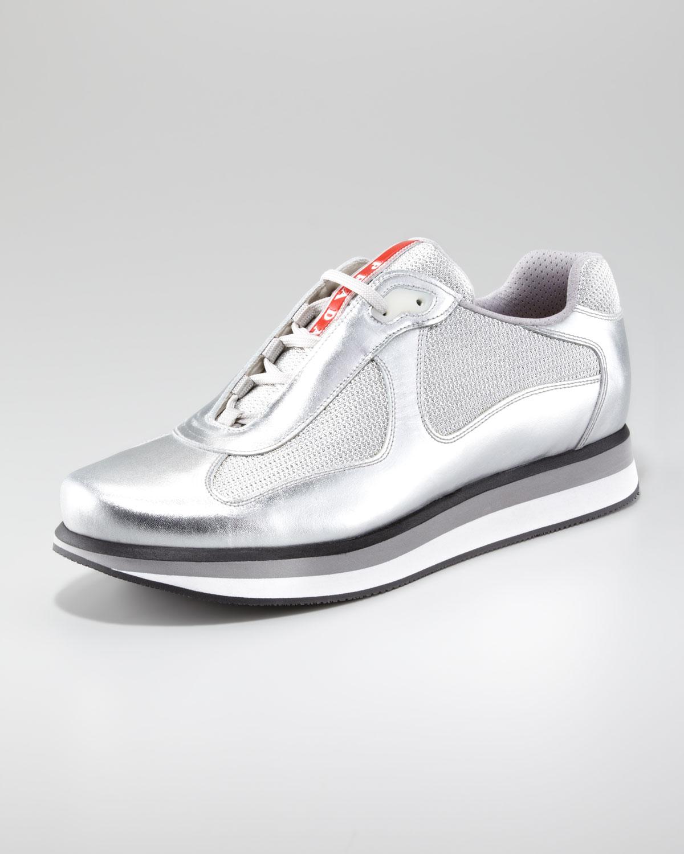 f1f4dd9d Prada Metallic Sport Sneaker with Micro Sole for men