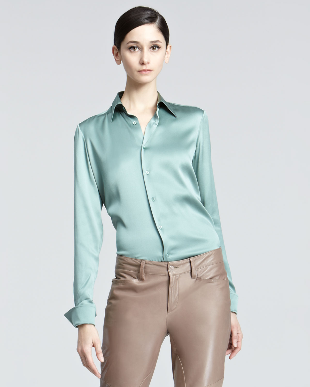 ralph lauren black label rachel stretch silk charmeuse blouse in green antique sage lyst. Black Bedroom Furniture Sets. Home Design Ideas