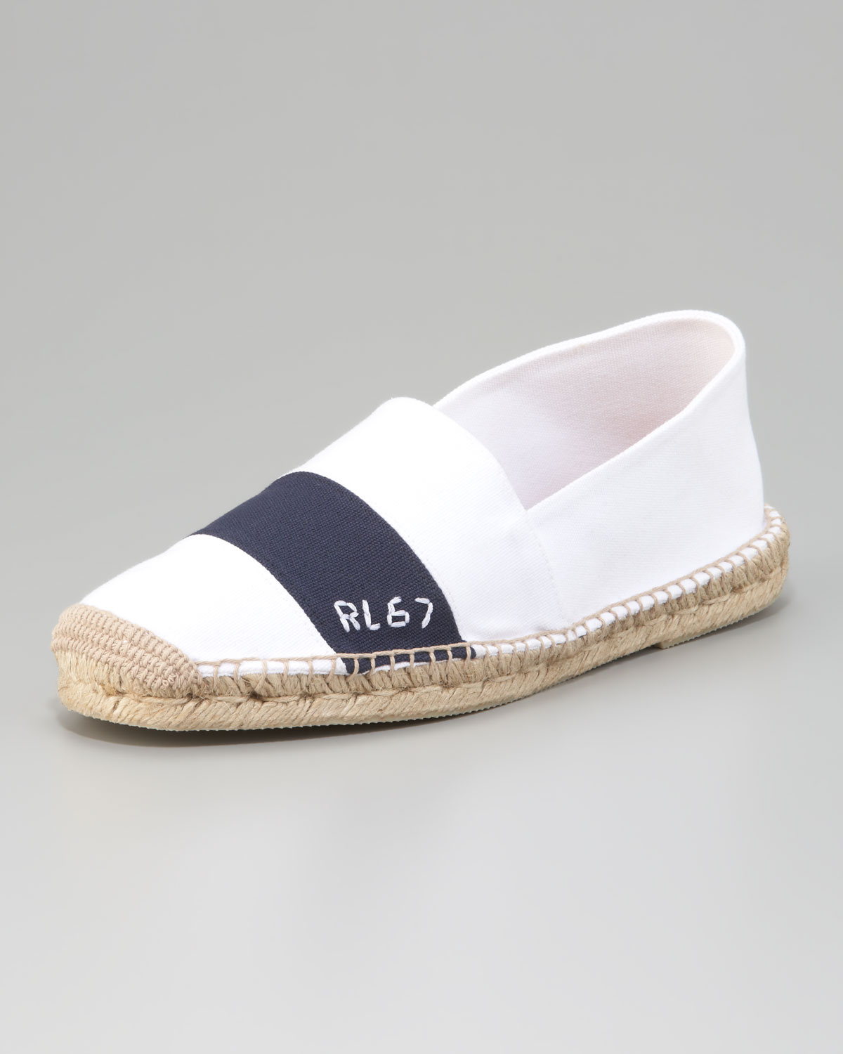 ralph lauren striped canvas espadrille in white for men lyst. Black Bedroom Furniture Sets. Home Design Ideas