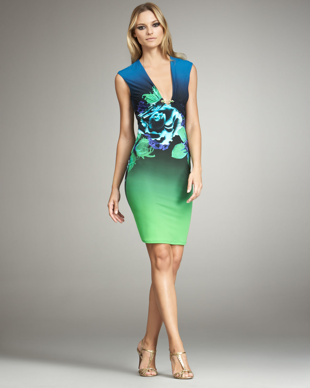 Lyst - Roberto Cavalli Deep V-neck Floral Dress in Blue cf4668286