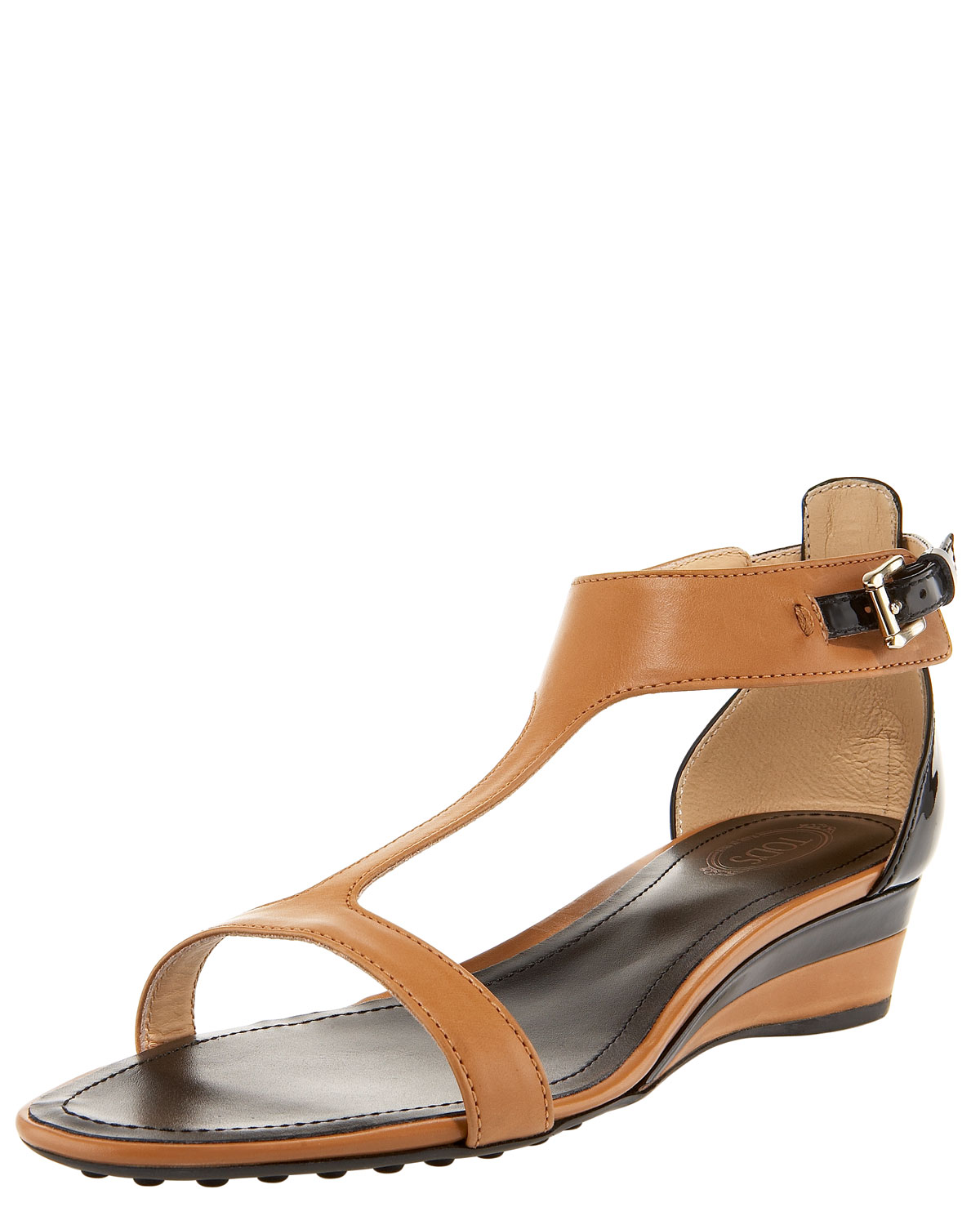 Tod S T Strap Low Wedge Sandal In Brown Lyst