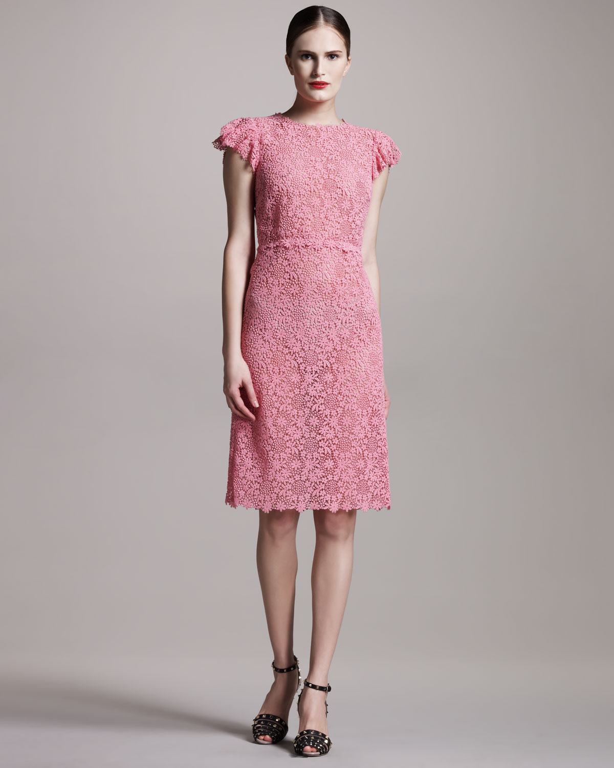 Valentino Lace Sheath Dress In Pink Lyst