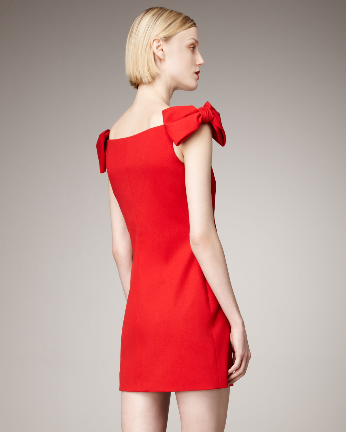 Valentino Bow-Sleeve Dress In Red