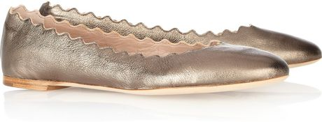 Chloé Lauren Metallic Leather Ballet Flats in Gold (anthracite)