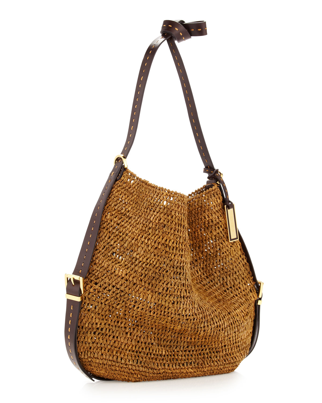 c81be3a9e14b68 Michael Kors Santorini Raffia Crossbody Bag in Brown - Lyst