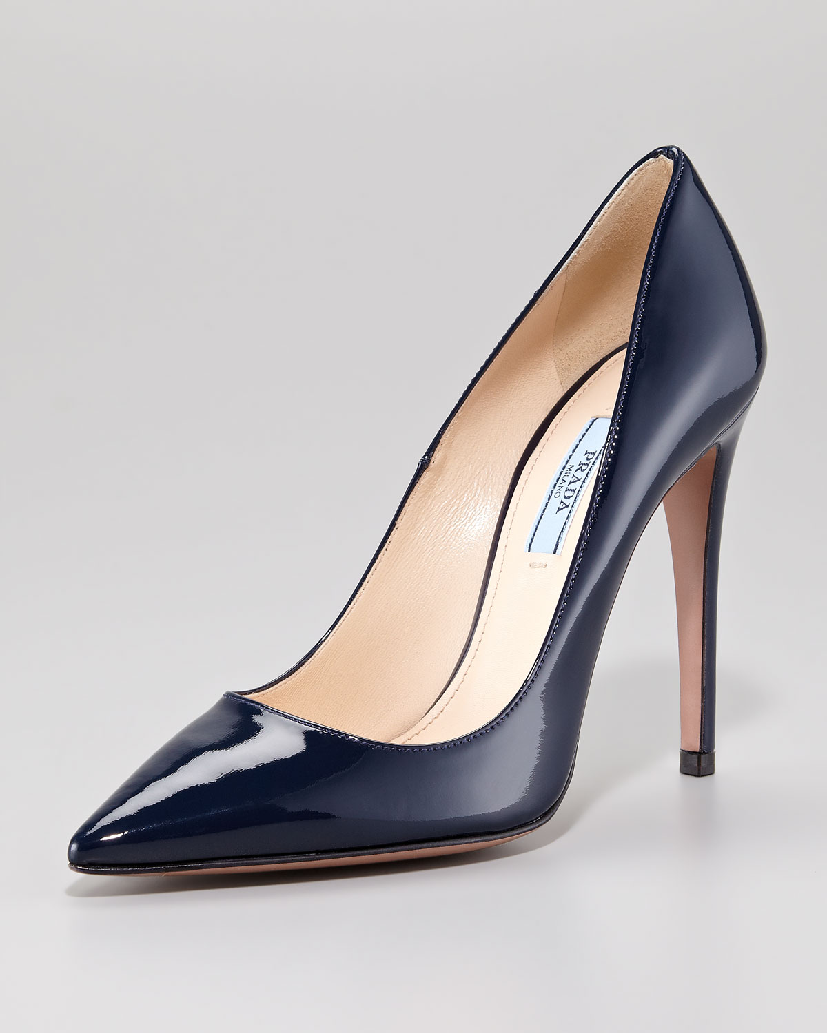 b8918ee3f6 Prada Pointed Patent Leather Pump in Blue - Lyst