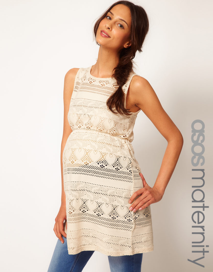 Asos asos maternity tunic in crochet in white lyst gallery ombrellifo Images