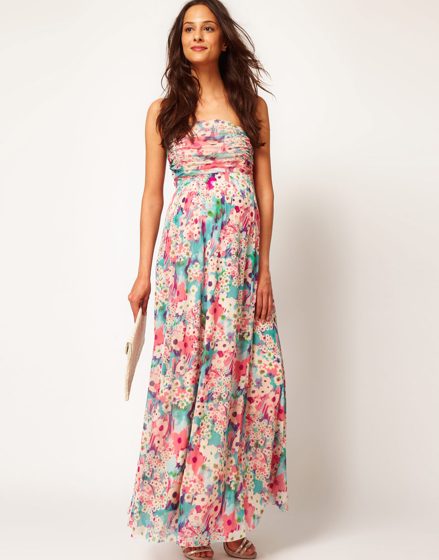 ASOS Asos Maternity Exclusive Maxi Dress in Floral in Pink ...