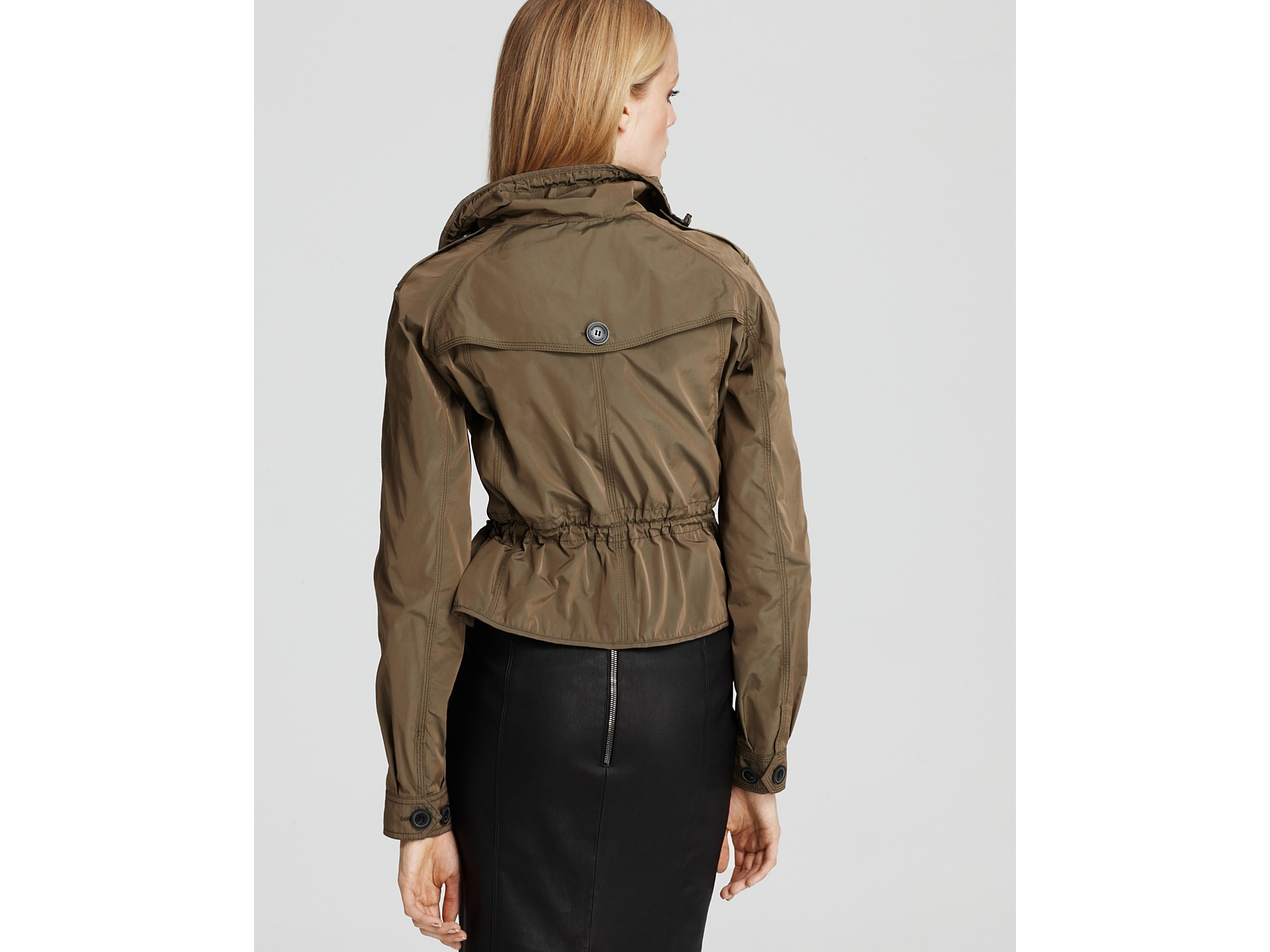 Burberry London Kenbrook Short Peplum Rain Jacket in Natural | Lyst