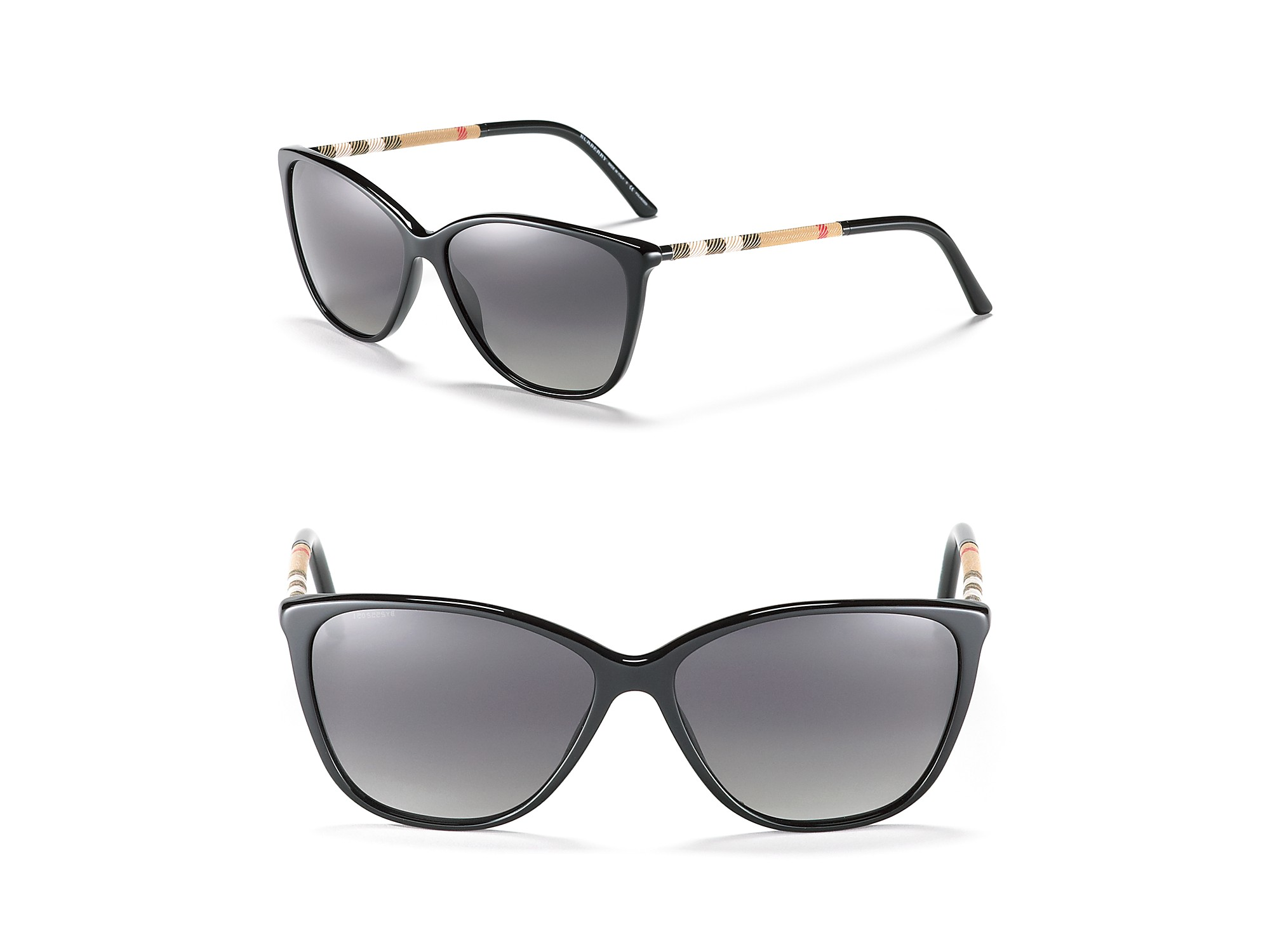 b5139ccf186 Lyst - Burberry Cat Eye Polarized Sunglasses with Check Temples in Black