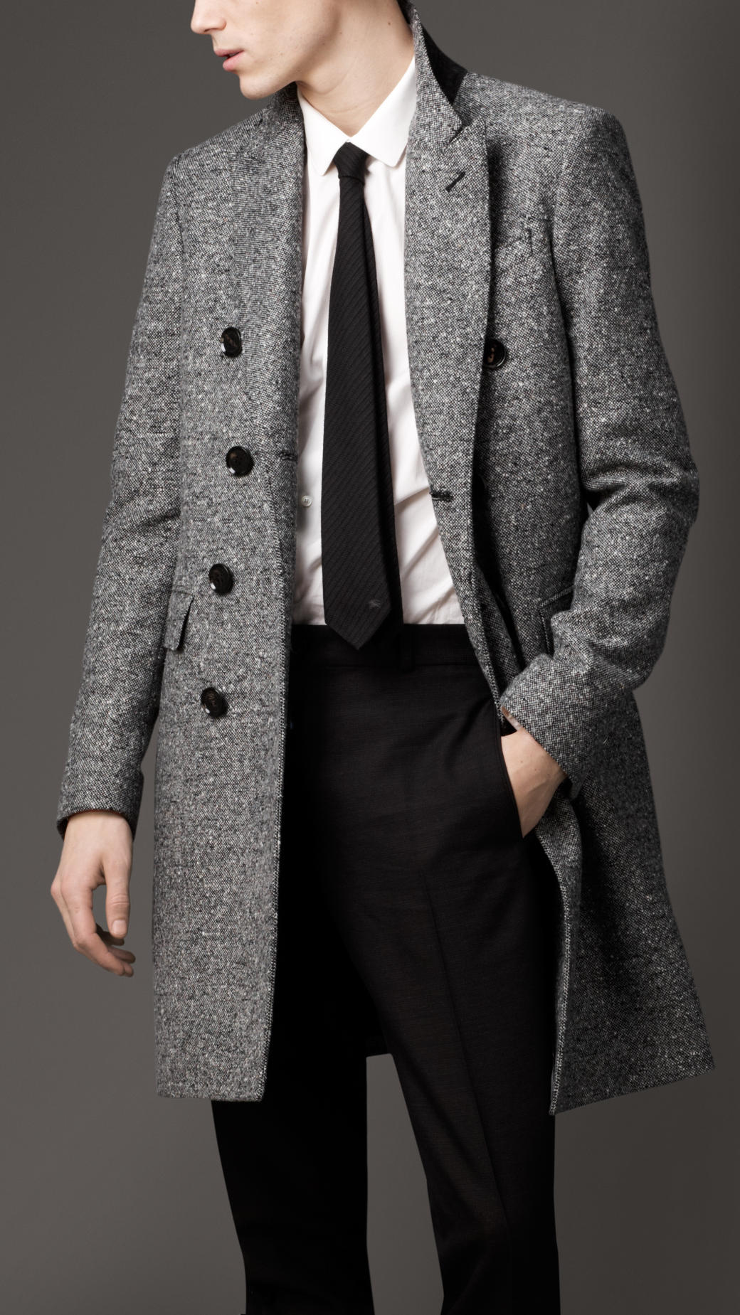Lyst Burberry Donegal Wool Chesterfield Coat In Black