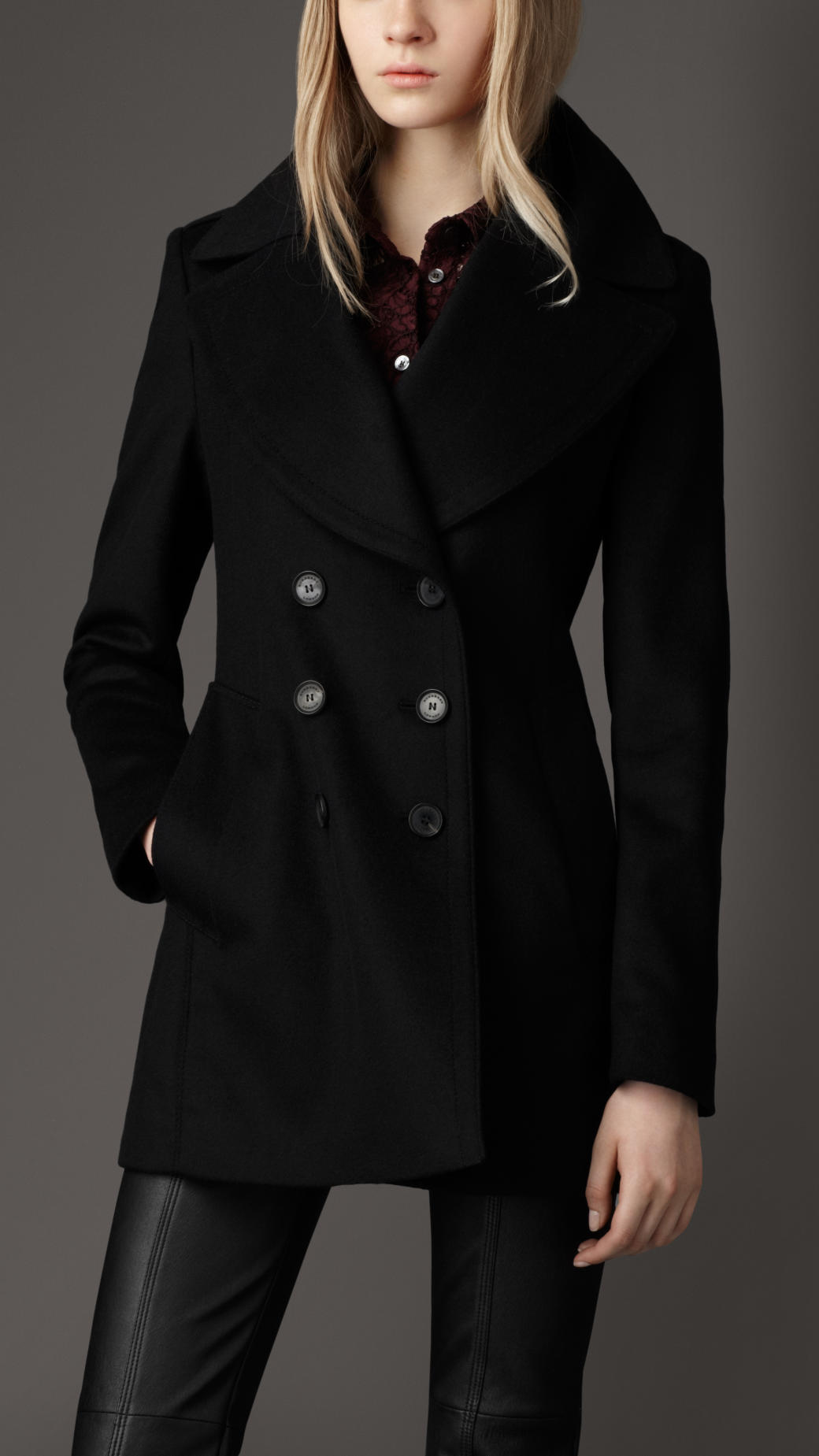Wool pea coat for women