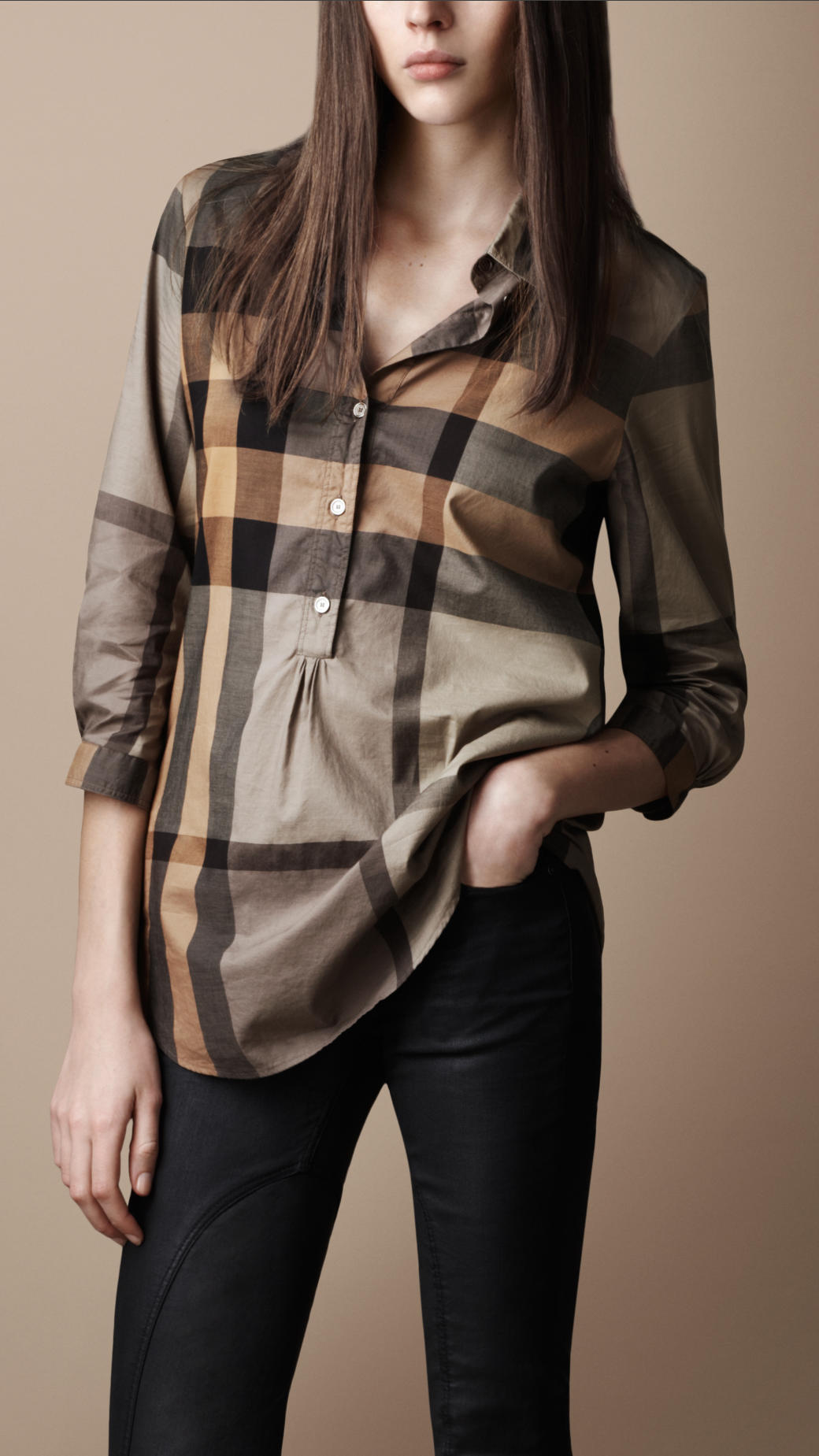 Burberry brit check tunic shirt in natural lyst for Burberry brit checked shirt