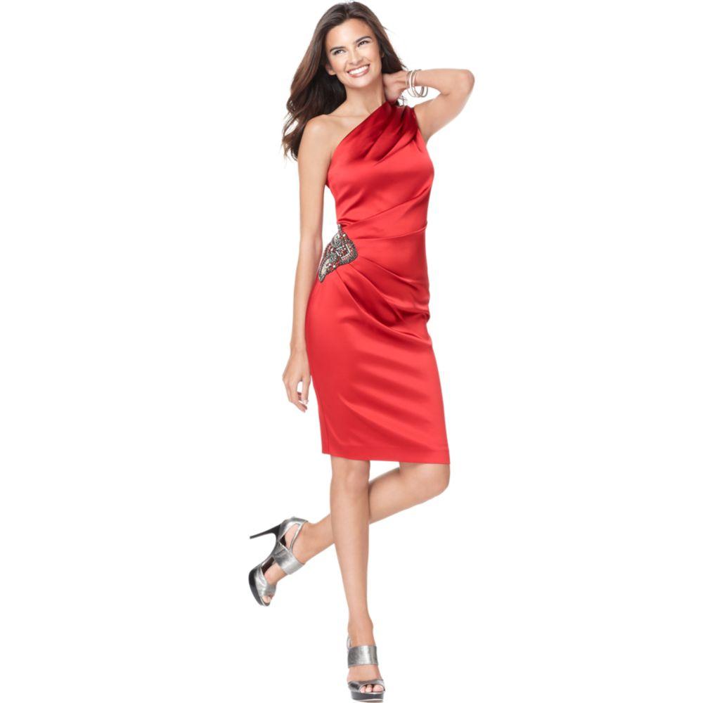 Eliza j One Shoulder Beaded Satin Cocktail Dress in Red - Lyst