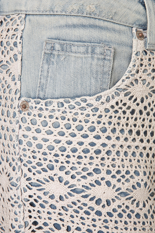 Lyst - Topshop Moto Bleach Crochet Hotpants in Blue