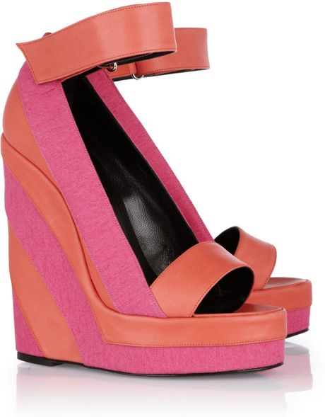 Pierre Hardy Canvas and Leather Platform Wedge Sandals in Pink