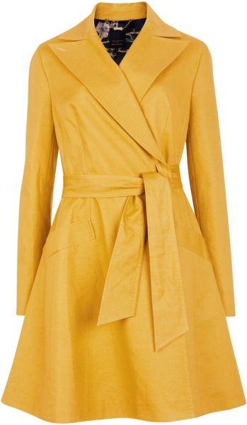Ted Baker Ted Baker Tunda Flared Skirt Coat Mustard In
