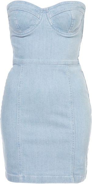 Topshop Denim Cupped Bandeau Dress in Blue (denim)
