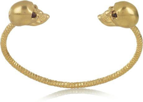 Alexander Mcqueen Swarovski Crystal Doubleskull Bracelet in Gold