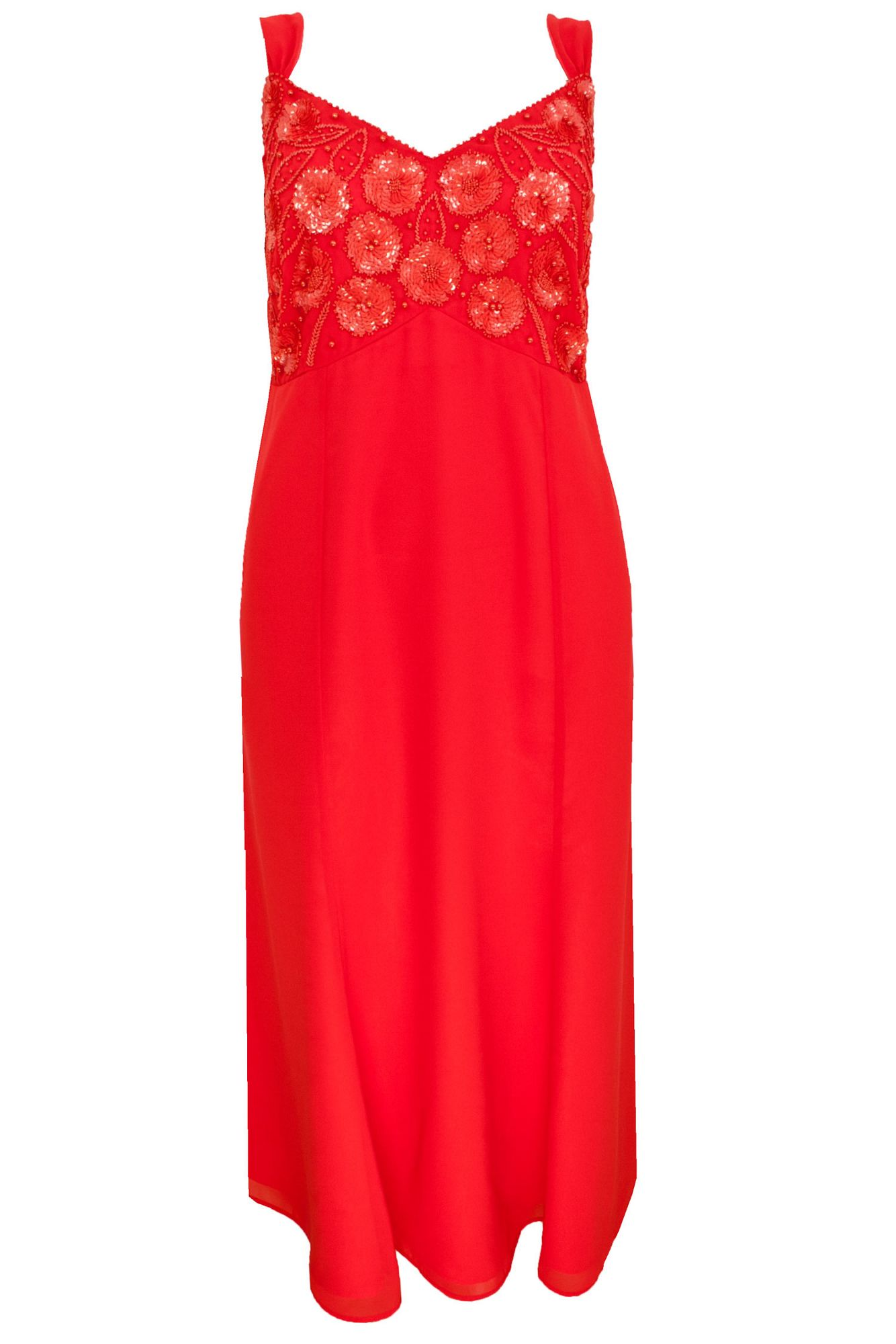 Coral beaded maxi dress