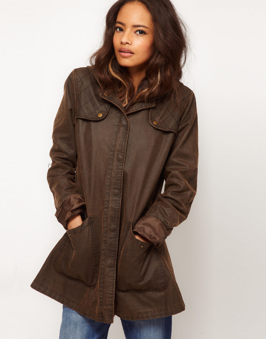 Asos Collection Asos Popper Front Waxed Hooded Jacket In