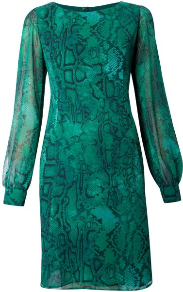 Biba Flirty Snake Print Tunic Dress in Green (azure) - Lyst