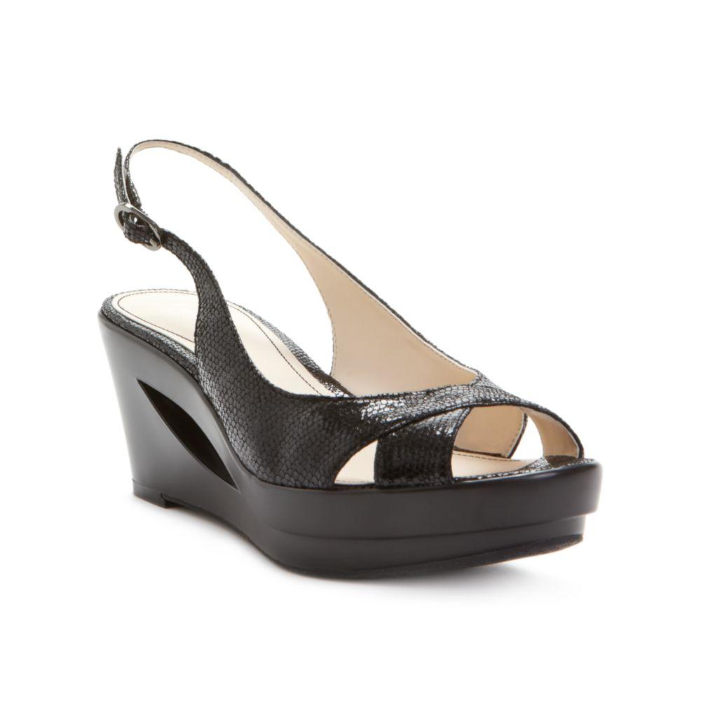 calvin klein rosaria wedge sandals in black lyst