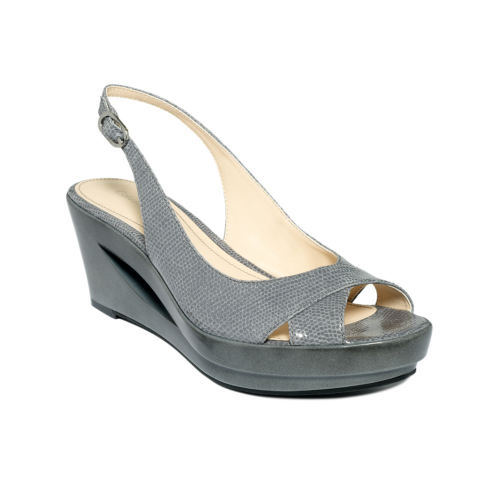calvin klein rosaria wedge sandals in gray grey lyst