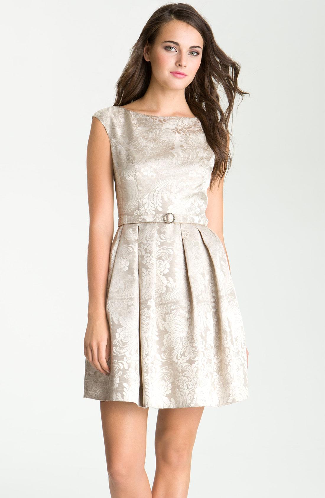 Eliza J Boatneck Jacquard Fit Flare Dress In Silver