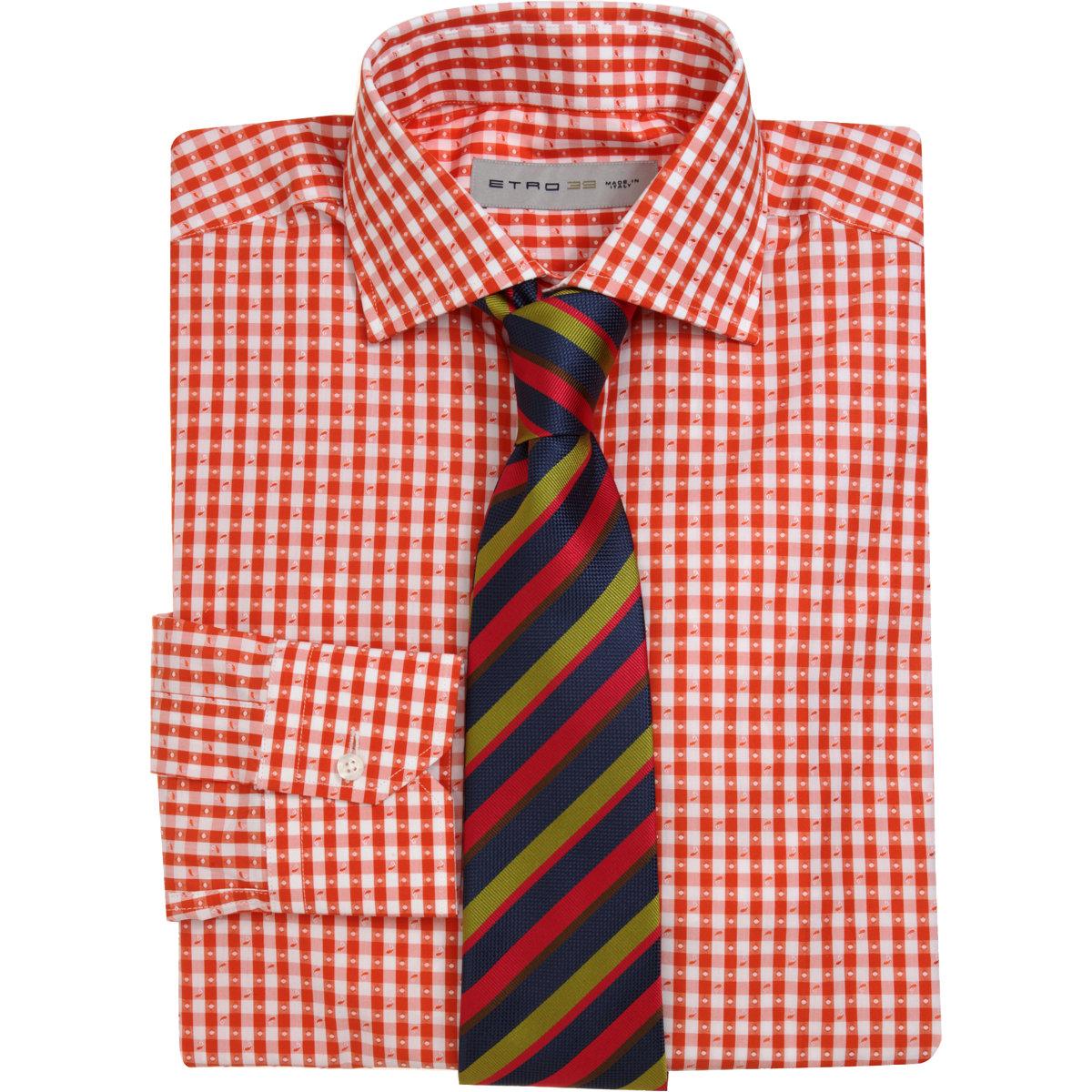 Etro gingham dress shirt in orange for men lyst for Men s red gingham dress shirt