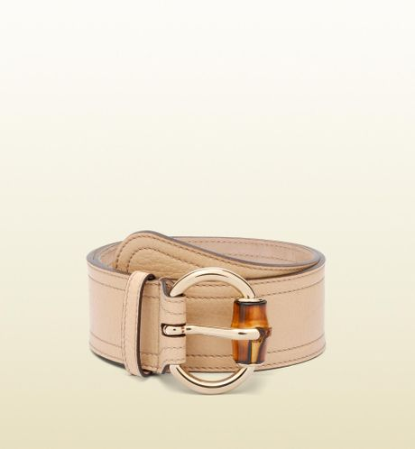 gucci wide belt with bamboo detail on buckle in gold