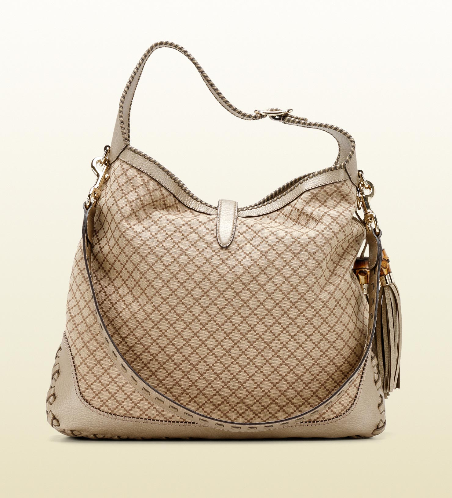 93599275e6d3 Gucci New Jackie Diamante Canvas Shoulder Bag in Natural - Lyst