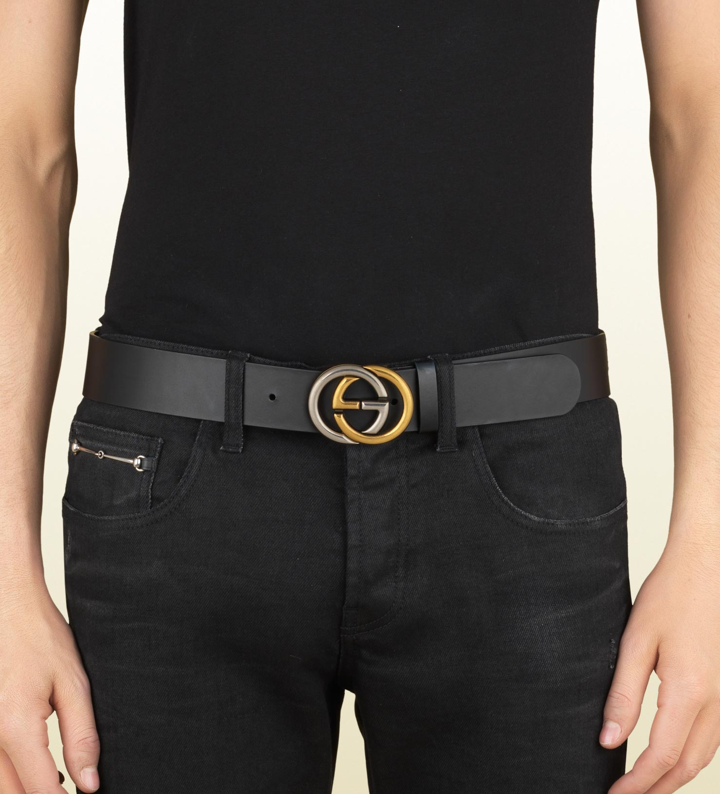 Lyst Gucci Leather Belt With Bi Color Interlocking G