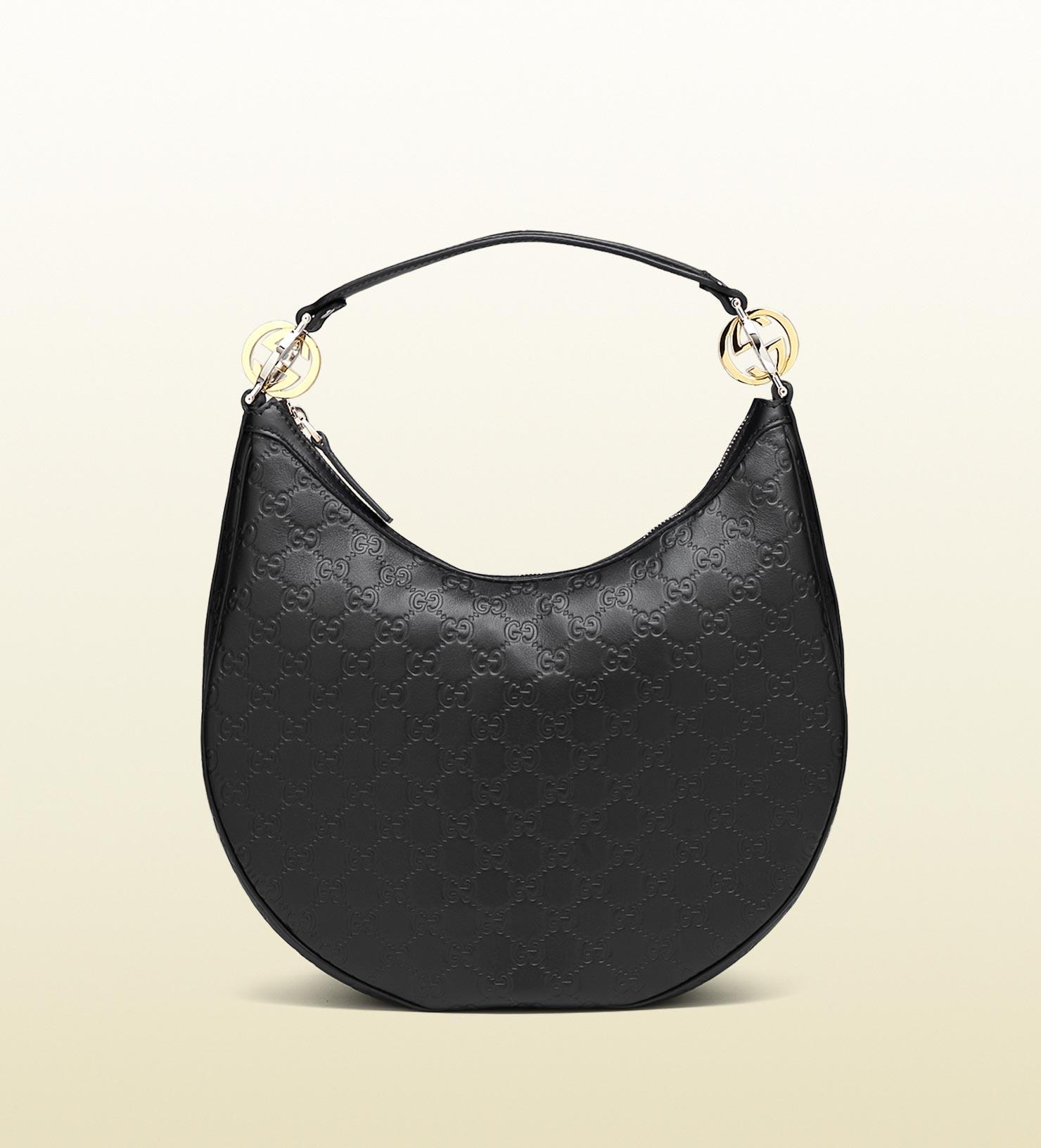 dd91b6d04d7e Gucci Black Gg Guccissima Leather Twins Interlocking Large Hobo Bag ...