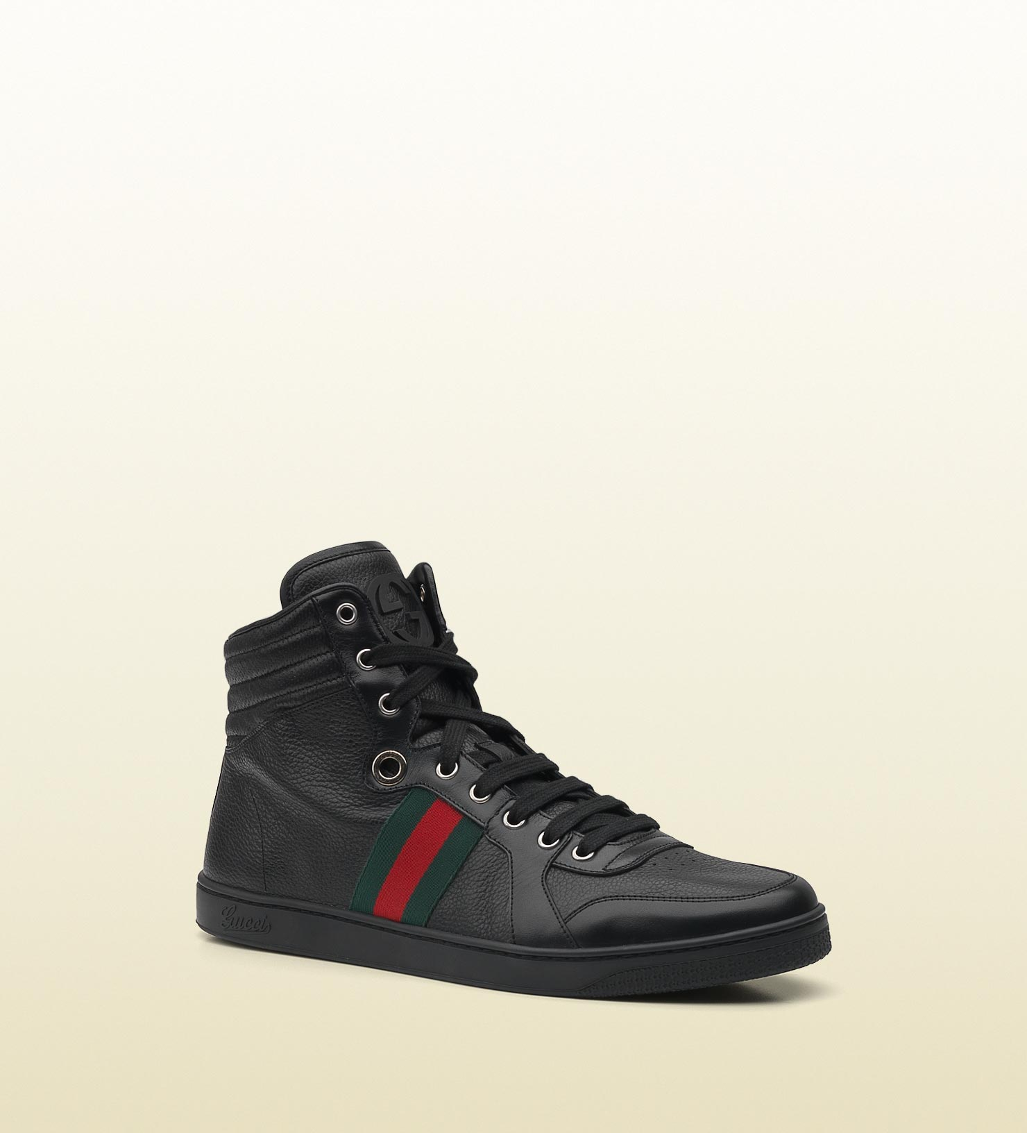 1a717b1699c0f Gucci Hi-top Lace-up Sneaker With Interlocking G And Signature Web ...
