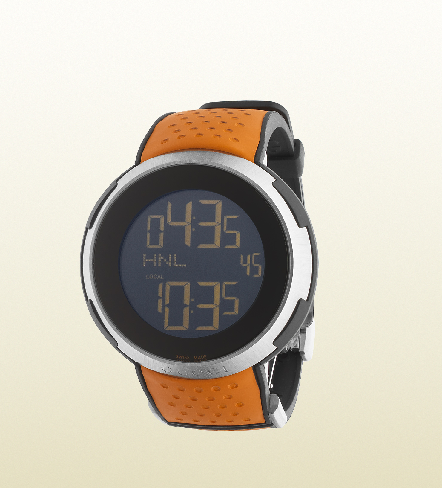5ac3e863015 Lyst - Gucci I- Stainless Steel And Rubber Watch in Orange for Men