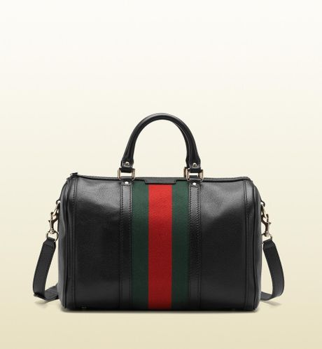 Gucci Vintage Web Medium Boston Bag in Black