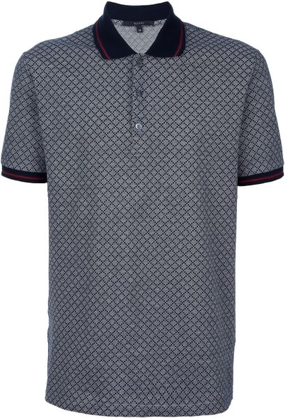 2aa09223df5 Gucci Monogram Polo Shirt in Blue for Men