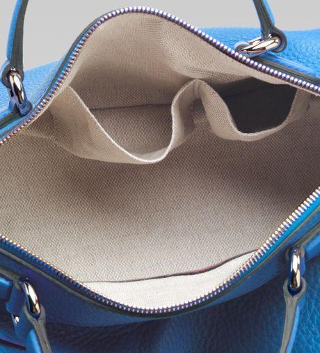Gucci Soho Riviera Blue Colour Leather Boston Bag In Blue