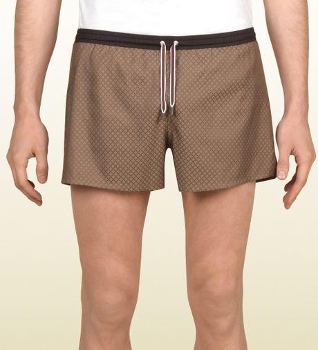 Gucci Diamante Swim Shorts in Brown for Men