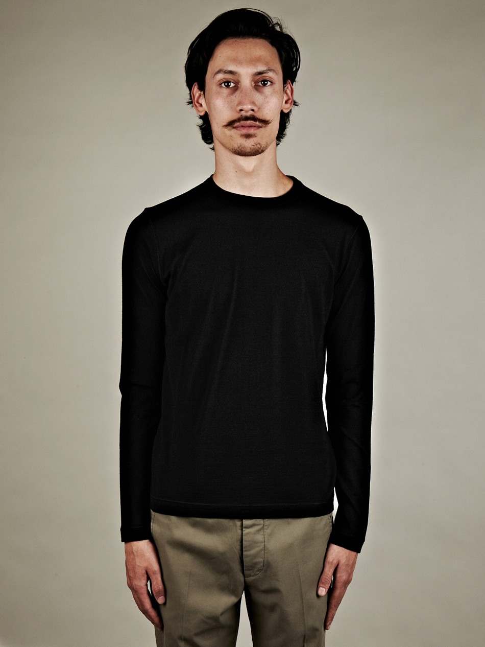 jil sander jil sander mens wool crew neck sweater in black. Black Bedroom Furniture Sets. Home Design Ideas