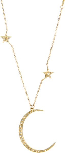 Me Amp Ro Diamond Crescent Moon Triple Star Necklace In Yellow
