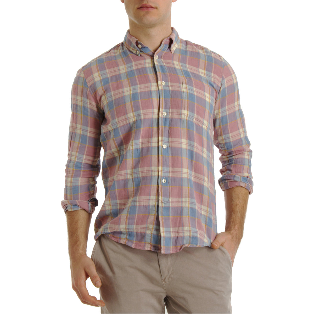 Lyst our legacy s button down sport shirt in pink for men for Mens button down sport shirts