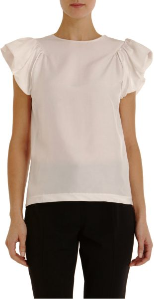 Saint Laurent Pouf Sleeve Top in White