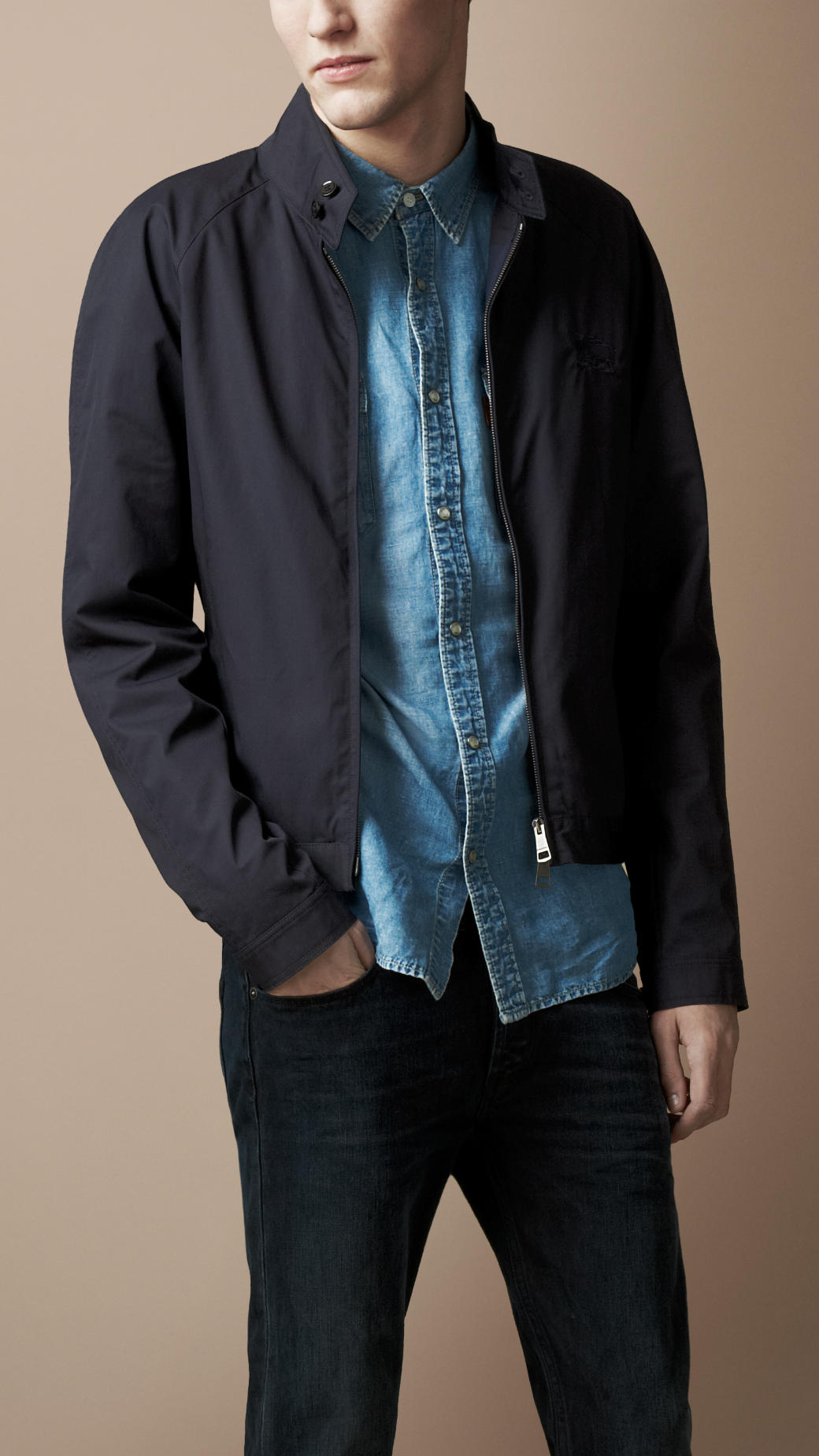 Burberry Brit Light-weight Stand Collar Jacket in Blue for Men