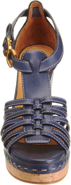 Chlo 233 Gladiator Wedge Sandal In Blue Navy Lyst