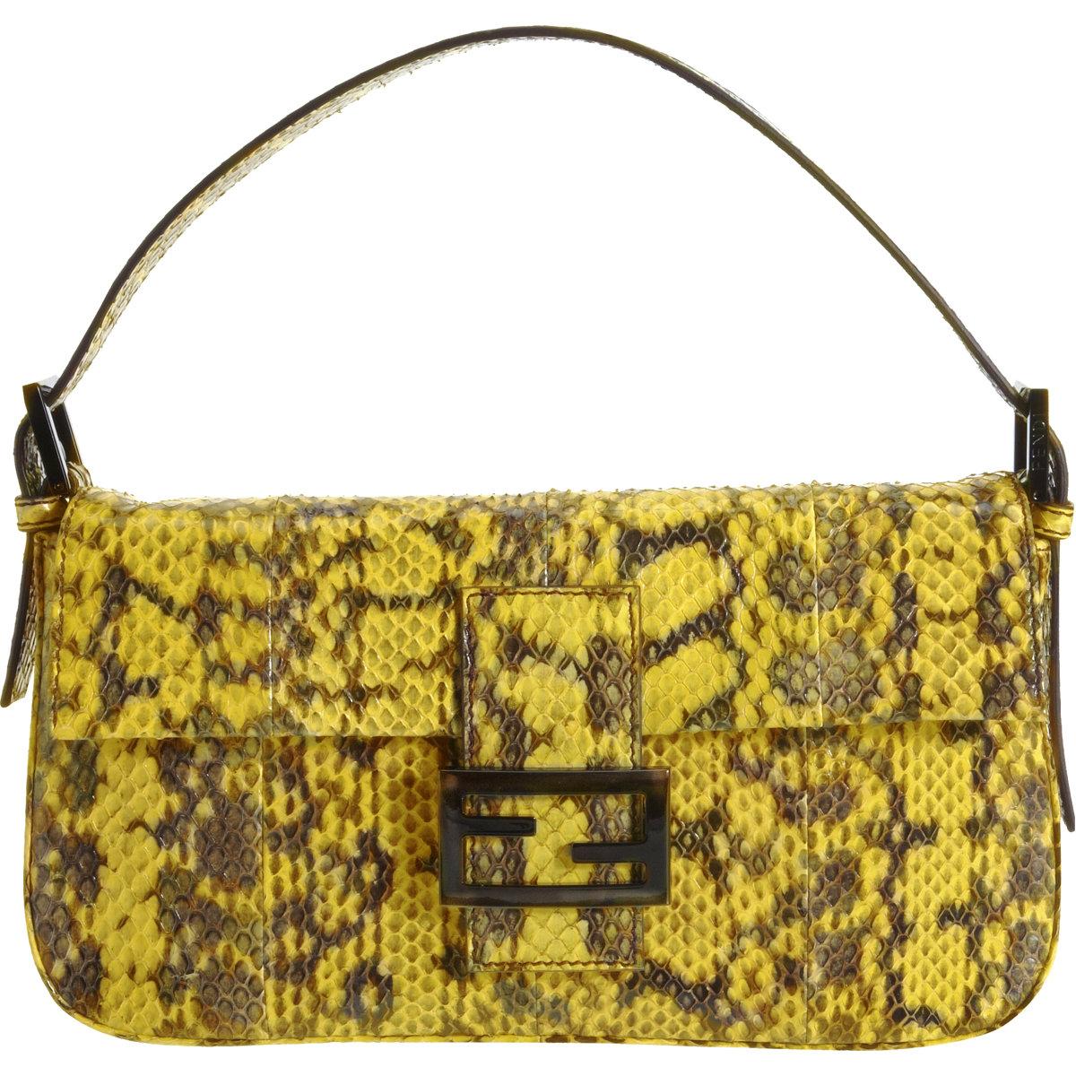 635732610296 ... denmark fendi snakeskin baguette bag in yellow lyst e80d3 35e20