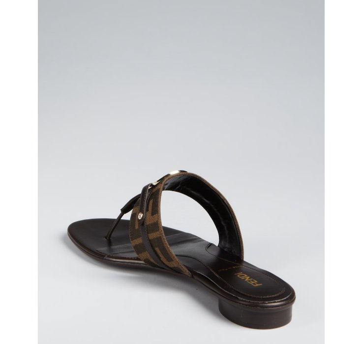 94551a20607cac Fendi Tobacco Zucca Canvas Logo Disc Thong Sandals in Brown - Lyst